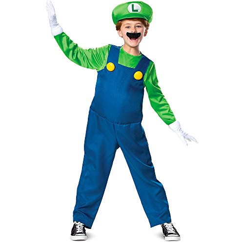 Mario Bro Halloween Costumes (Party City Luigi Deluxe Halloween Costume for Kids, Super Mario Bros, Medium, Accessories, and Favor)