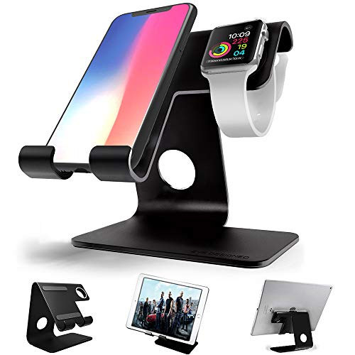 Apple Watch Stand, ZVEproof 2 in 1 Universal Desktop Cellphone Stand and Apple Watch Stand, Aluminum iWatch iPhone Tablet Charging Station Stand Dock for Phone and Apple Watch (38mm and 42mm), Black by ZVEproof