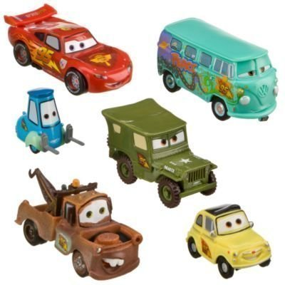 Disney Pixar Cars - Lightning McQueen Pit Crew - 6 Figure Play Set - In Display (Disney Cars Figure)