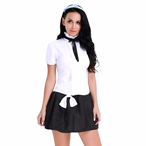 Top College Student Halloween Costumes (FEESHOW Women School Girls Uniform Cosplay Costumes Top Shirt with Skirt Hair Loop Set Black White Small)