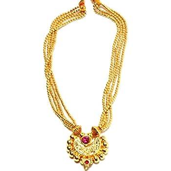 9ec9fdbb7aa7c Amazon.com: Imitation Traditional Kolhapuri Necklace - Laxmi Pendant ...