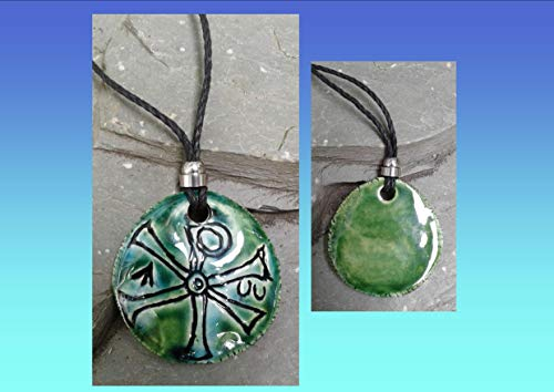 (Chi Rho Necklace Turquoise Green Ceramic Pendant Good Fortune Pagan Jewelery Pottery Amulet Chronos God of Time )
