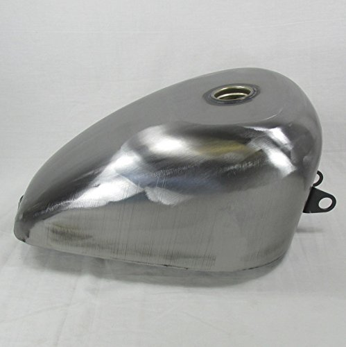 King Sporty Gas Tank Oversized for 1982-2003 (Rubber Mount Style) Harley Davidson Sportster RIGHT SIDE PETCOCK - 3.1 Gallon Capacity - Steel - Chopper Bobber Motorcycle Cafe Racer Fuel Cell ()