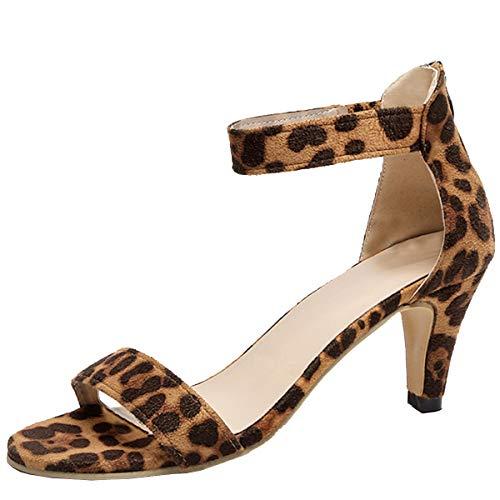 Festnight Women's Stiletto Open Toe Low Heel Zipper Closure Sandal Ankle Strap High Heels Sandals Working Bridal Party Shoes Brown