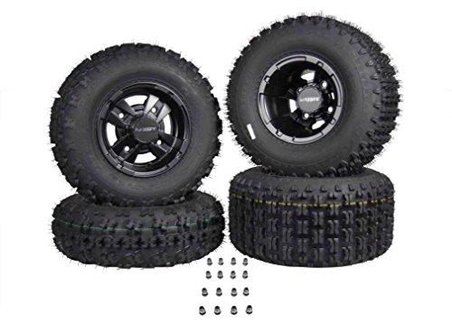 SET 4 YAMAHA RAPTOR 660R 700 Black MASSFX Rims & MASSFX Tires Wheels kit