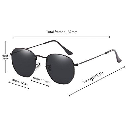 Negra de la marco moda moda Caja Aiweijia de sol de Gafas protectoras del Gafas lentes metálico sol de las del UV400 de Gris irregulares polígono XXxPg7wvq