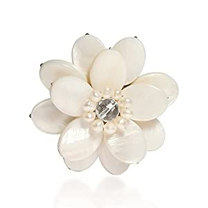 AeraVida White Mother of Pearl and Cultured Freshwater Pearl Sweet Azalea Floral Pin or Brooch