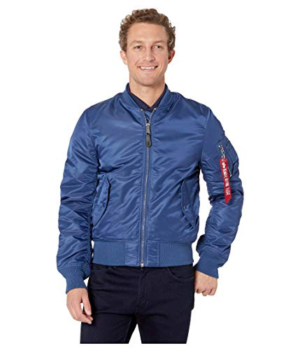 Alpha Industries Men's MA-1 Slim European Fit Flight Jacket, Blue No. 9 M ()