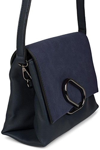 styleBREAKER bolso de bandolera con solapa en óptica de ante y pinza de metal, bolso de mano, bolso, señora 02012209, color:Negro Azul oscuro