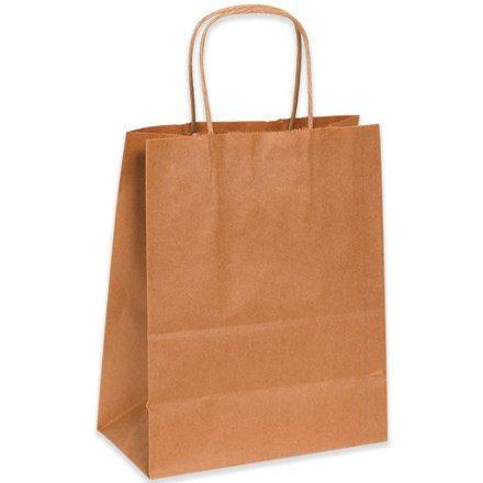 Aviditi BGS103K Paper Shopping Bag, 8'' Length x 4-3/4'' Width x 10-1/4'' Height, Kraft (Case of 250)