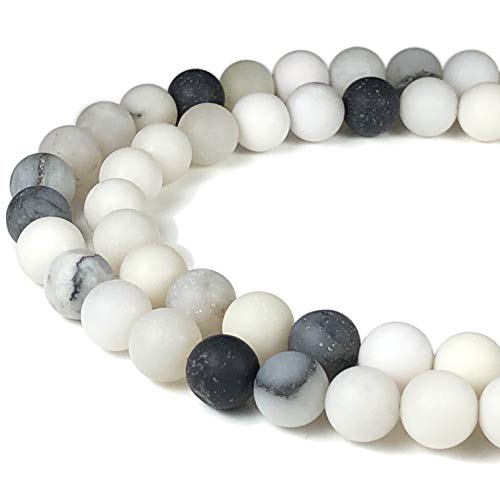 - [ABCgems] Matte Black & White Dendritic Agate 8mm Smooth Round Beads for Beading & Jewelry Making