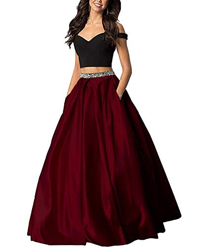d51662cd75 Sophie Women s Long Off The Shoulder Two Piece Beaded Prom Dress Satin Evening  Gowns Formal with