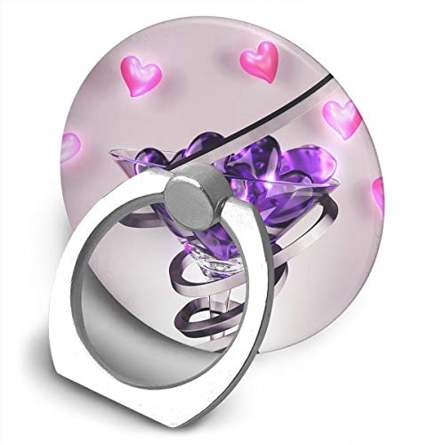 Round Finger Ring Stand Phone Holder Grip Wine Glass Love Heart 360°Rotation Kickstand for Smartphones and IPad