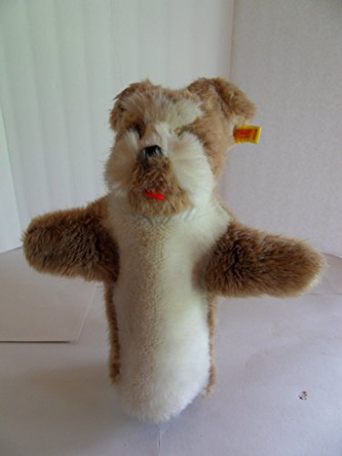 Steiff dog hand puppet, Terrier, w.button/flag. Made in Germany 1217 (Terrier Button)