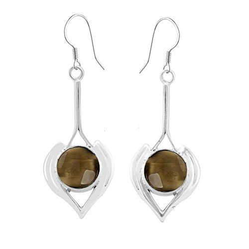 6.10ct, Genuine Cabochon Smoky Quartz & 925 Silver Plated Dangle Earrings (Cabochon Smoky Earrings)