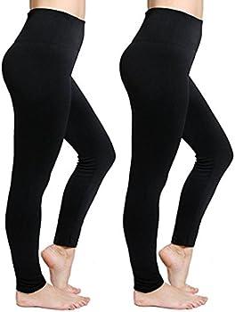 2-Pack CakCton Women's Fleece Lined High Waist Leggings