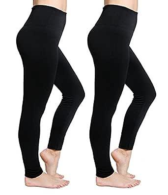 CakCton 2 Pack - Fleece Black Women Leggings for Winter High Waist Stretchy Tights Yoga Pants - One Size