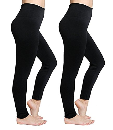 - CakCton Plus Size Fleece Lined Black Leggings for Women High Waist Cotton Leggings - 2 Pack