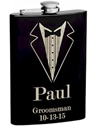 Access 8oz Black Tuxedo Groomsmen Hip Flask with FREE Personalization compare