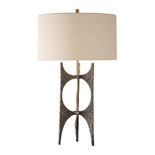 My Swanky Home Modern Hammered Bronze Metal Sculpture Table Lamp | Open Abstract Mid - Abstract Lamp Table