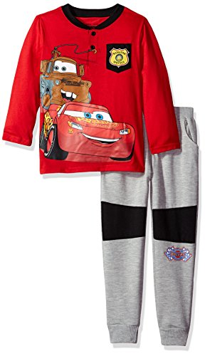 Disney Toddler Boys' 2 Piece Cars Henley with French Terry Pant Set, Red, 4T (Kids Disney Clothes)