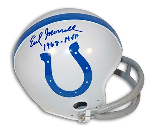 Autographed Earl Morrall Baltimore Colts Riddell Replica Mini Helmet Inscribed 1968 MVP - Certified Authentic Signature (Baltimore Signature Helmet)