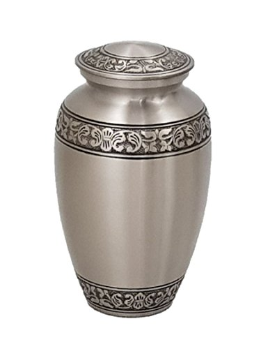 (Urns for Human Ashes, Adult Size Pewter Funeral Cremation Urn with Velvet Bag)