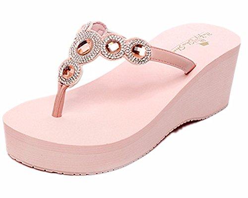 ANBOVER Womens Summer High Wedge Beach Sandals Rhinestone Bohemia Flip-flops Platform Pink-39 ()