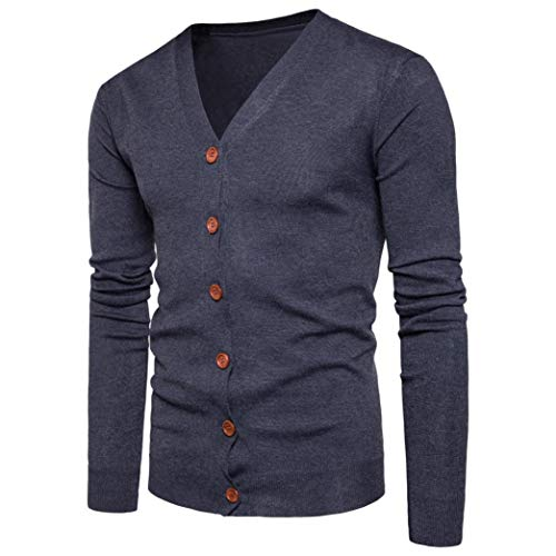 Muranba Clearance Men V Neck Button Knit Sweater Cardigan Coat by Muranba Mens Pants (Image #1)