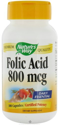 Natures Way Folic Acid 800 mcg 100 capsules. Pack of 6 bottles.