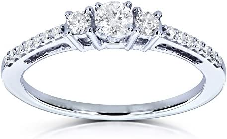 Kobelli Three Stone Round Diamond Engagement Ring 1/4 Carat TW in 10k White Gold