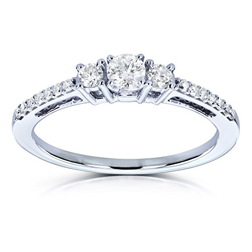 Three Stone Round Diamond Engagement Ring 1/4 Carat TW in 10k White Gold
