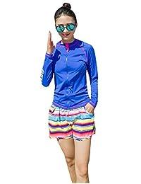 Ilishop Women's UV Sun Protection Long-Sleeve Rashguard Zip-Front 2016 Rash Guards