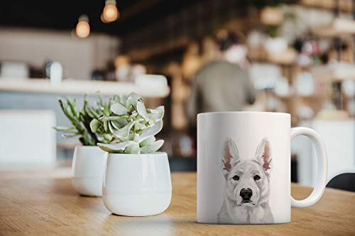 MUGBREW Cute White German Shepherd Dog Full Portrait Ceramic Coffee Gift Mug Tea Cup, 11 OZ 6