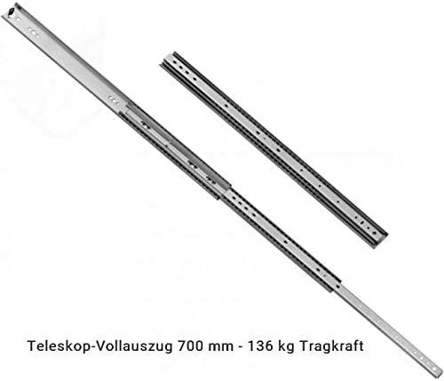 53 mm Hoch 550 mm L/änge 136 kg Tragkraft im eingezogenen Zustand 2 x Schwerlastauszug L/änge 550 mm mit Arretierung Vollauszug Teleskopschienen