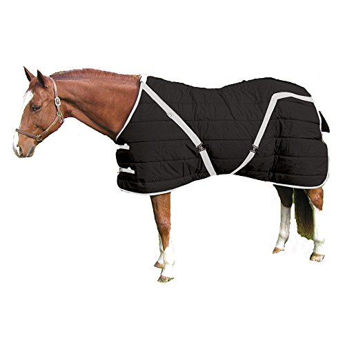 Pony Stable Sheet - High Spirit Snuggie Pony Stable Blanket, 64-Inch, Black/Silver