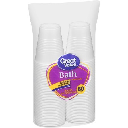 Great Value Plastic Bath Cups, 5 Oz - 80 Count (Pack of 4)