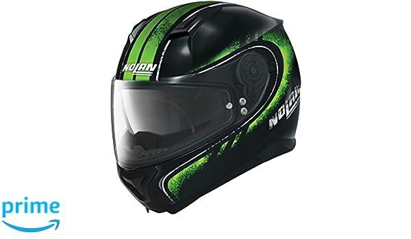 Amazon.es: Nolan N87 Fulgor Integral Casco Moto policarbonato N- Com - Metal Negro Verde Tamaño 2 X L