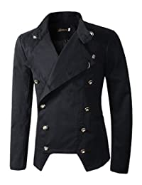 Benibos Mens Casual Double Breasted High Neck Slim Fit Blazer Jacket