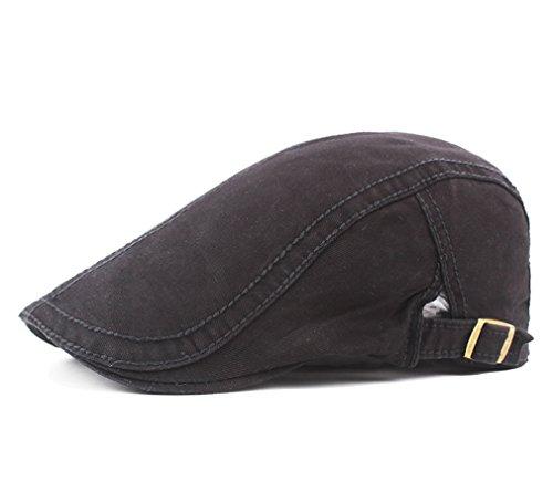 Men's Cotton Flat Snap Hat Ivy Gatsby Newsboy Hunting Cabbie Driving Cap (Black)