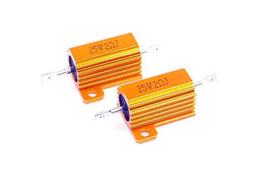 LM YN 25 Watt 2 Ohm 5% Wirewound Resistor Electronic Aluminium Shell Resistor Gold for Inverter LED lights Frequency Divider Servo Industry Industrial Control 2-Pcs