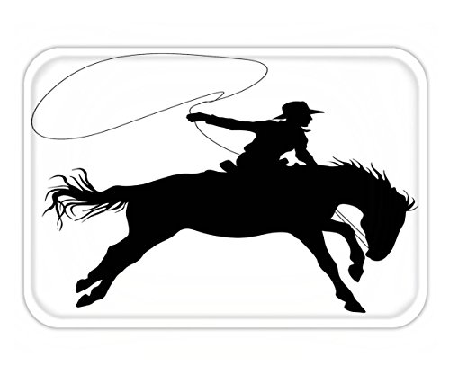 Minicoso Doormat Cartoon Decor Collection Silhouette of Cowboy Riding Horse Rider Rope Sport Country Western Style Art Black and (North Shore Riders)