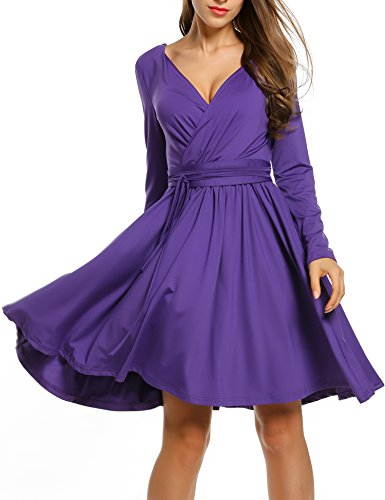 Dress Deep Belt Long Line Dresses Pleated Fit with Sexy Neck Women ACEVOG Flare Purple A Casual Sleeve V q6FUawY