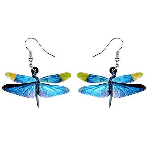- NEWEI Acrylic Sweet Dragonfly Insect Earrings Drop Dangle For Women Girl Gift Charms Fashion Jewelry (Blue)
