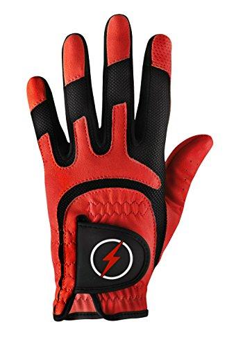 Powerbilt Junior One-Fit Golf Glove - LH Red, Red(One Size, Worn on Left Hand)