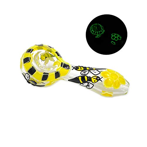WLLP 4 Inch Portable Art Glass Craft Tube,Small Size and Beautiful, Heat Resistant and Durable, Can be Used as a Collectible(Honey Yellow) (Bowls Marijuana)
