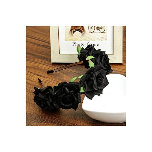 Halloween Festival Hair Bands Flower Tiaras Romantic Bridal Headwear Bohemia Style Accessories,Black