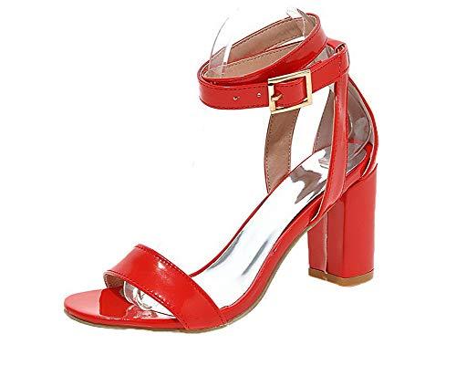 Couleur AgooLar Rouge Boucle Femme à Cuir Sandales Haut Unie PU Talon GMBLB015253 wttPr