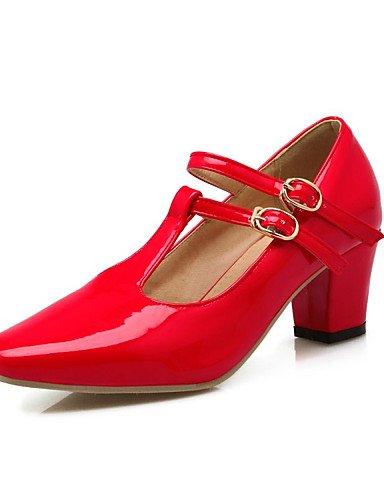 GGX/Damen Schuhe Patent Leder Frühjahr/Sommer/Herbst Heels Heels Hochzeit/Casual Chunky Ferse buckleblue/Pink black-us6.5-7 / eu37 / uk4.5-5 / cn37