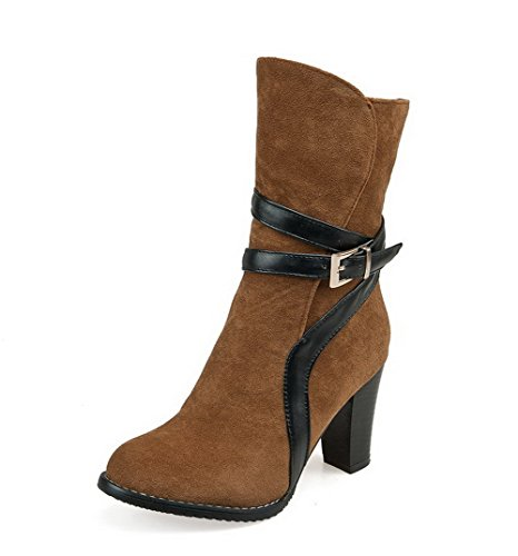 AllhqFashion Women's High Heels Solid Toe Zipper Frosted Round Closed Toe Solid Boots B01MQ1F8F6 Shoes 398922